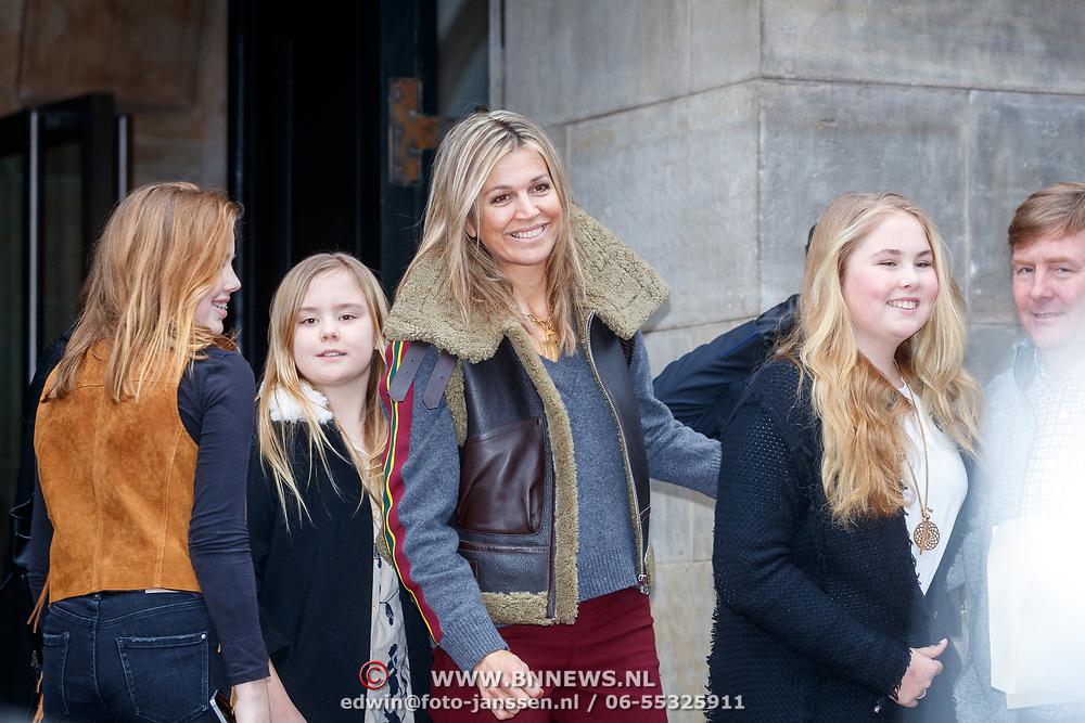 NLD/Amsterdam/20180203 - 80ste Verjaardag Pr.Beatrix, Willem-Alexander, partner Máxima Zorreguieta en kinderen Catharina-Amalia, Alexia en Ariane