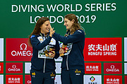 Women's Syncronised 3m dive podium presentation with Anabelle Smith of Australia (left) and Maddison Keeney of Australia with their Gold Medals celebrating during the FINA/CNSG Diving World Series 2019 at London Aquatics Centre, London, United Kingdom on 17 May 2019.