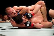 8-5-2016 ROTTERDAM -  Mixed Martial Arts - UFC Fight Night - Albert Tumenov v. Gunnar Nelson 8/5/16 - Gunnar Nelson chokes Albert Tumenov. in ahoy rotterdam COPYRIGHT ROBIN UTRECHT