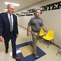 Rob Picou, Tupelo Public School District Superintendent, walks through I Building with Art Dobbs, Tupelo High School Principal, during Picou's visit to Tupelo High School on monday afternoon.