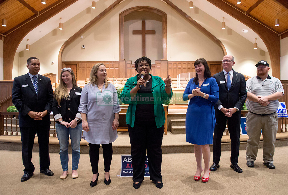 November 01, 2018 - Woodstock, Georgia, U.S. -  Flanked by other candidates, STACEY ABRAMS, Democratic candidate for governor of Georgia, rallies supporters at a Get Out the Vote rally at the Allen Temple AME.(Credit Image: © Brian Cahn/ZUMA Wire)
