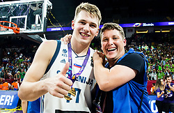 Luka Doncic of Slovenia and Photographer Vid Ponikvar celebrating at Trophy ceremony after  the Final basketball match between National Teams  Slovenia and Serbia at Day 18 of the FIBA EuroBasket 2017 when Slovenia became European Champions 2017, at Sinan Erdem Dome in Istanbul, Turkey on September 17, 2017. Photo by Jan Kropf / Sportida