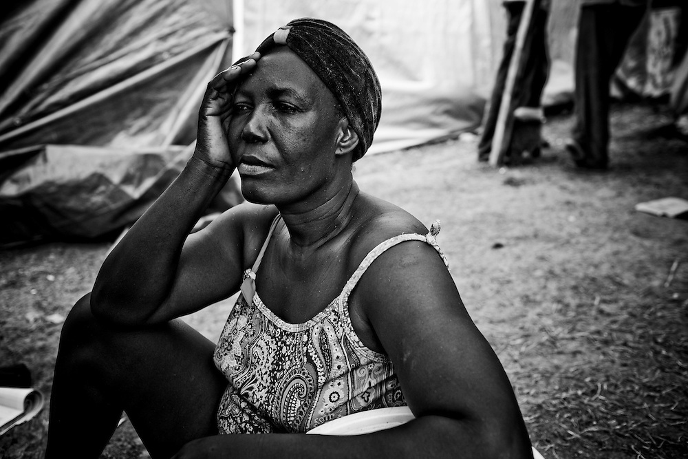 A woman in a camp for those displaced by the recent earthquake in Petionville, outside Port-au-Prince, Haiti.
