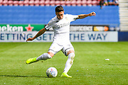 Leeds United midfielder Pablo Hernandez (19) passes the ball Leeds United midfielder Pablo Hernandez (19) passes the ball during the EFL Sky Bet Championship match between Wigan Athletic and Leeds United at the DW Stadium, Wigan, England on 17 August 2019.