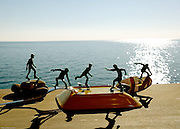 Liguria , Imperia, toy skaters on the balcony