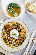 """Rckshaw noodles served """"two ways"""" lunch. The Clifford Pier restaurant at the Fullerton Bay hotel, Singpaore."""