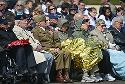 June 6, 2017 - La Madeleine, France - Some of the few Normandy 1944 Veterans still alive during an US National Anthem, at the International Commemorative Ceremony of the Allied Landing in Normandy in the presence of the US Army veterans and troops, and representatives of the French State and the eight allied countries (Belgium, Canada, Denmark, United States, Great Britain, Norway, Netherlands, Poland), that took place today at Utah Beach.     the International Commemorative Ceremony of the Allied Landing in Normandy in the presence of the US Army veterans and troops, and representatives of the French State and the eight allied countries (Belgium, Canada, Denmark, United States, Great Britain, Norway, Netherlands, Poland), that took place today at Utah Beach. .. ..Tuesday 6th June is the 73rd anniversary of the D-Day landings which saw 156,000 troops from the allied countries including the United Kingdom and the United States join forces to launch an audacious attack on the beaches of Normandy...On Tuesday, June 6, 2017, in Utah Beach, Pouppeville, La Madeleine, France. (Credit Image: © Artur Widak/NurPhoto via ZUMA Press)