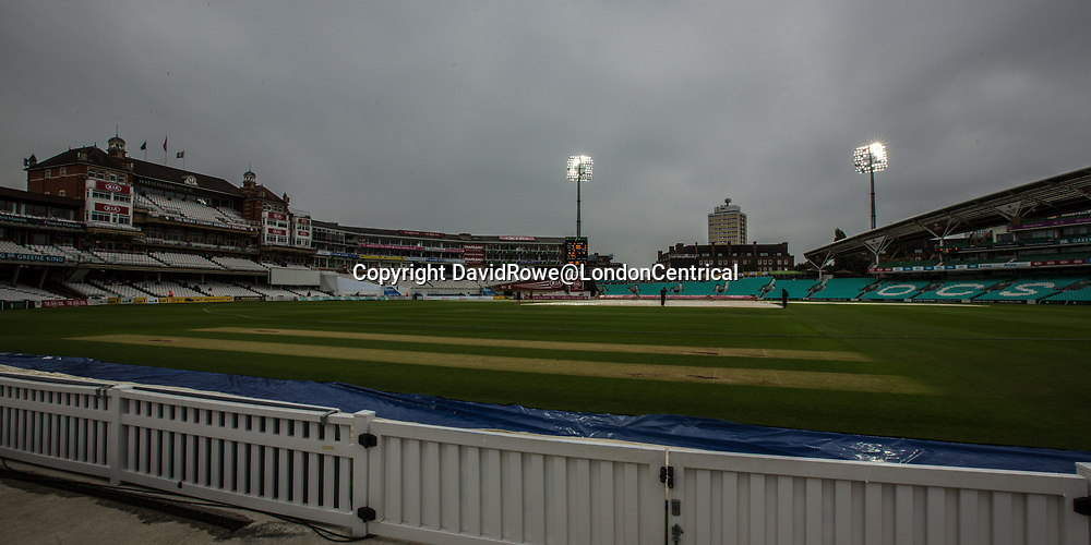 London,UK. 30 August 2017. Rain delays the start of play on day three of the Specsavers County Championship match at the Oval where Surrey are taking on  Middlesex. David Rowe/ Alamy Live News