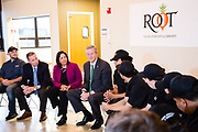 Massachusetts Governor Charlie Baker, Salem Mayor Kim Driscoll, and State Rep Paul Tucker visit Root North Shore on October 26, 2017.<br /> <br /> Root aims to provide at-risk youth a pathway out of the entrenched cycle of poverty through life and work readiness skills, case management, health and nutritional education and the social capital to ensure that all students leave Root prepared for success in the workplace.<br /> <br /> CREDIT:  Alyse Gause