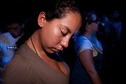 PERUVIAN FEMALE LOST IN MUSIC AT CLUB