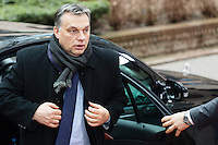 Viktor Orban, Prime Minister of Hungary, arrives at a EU Budget summit at the European Council building after a break in Brussels, Friday, Feb. 8, 2013. A European Union summit to decide EU spending for the next seven years entered a second day after all-night negotiations left a standoff over spending unresolved. The leaders of the 27 nations inched toward a compromise Friday that would leave their common budget with a real-term cut for the first time in the EU's history.
