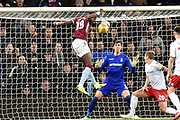 Nottingham Forest goalkeeper Costell Pantillimon (1)  makes an important save  from the head of Aston Villa striker(on loan from Chelsea) Tammy Abraham (18) during the EFL Sky Bet Championship match between Aston Villa and Nottingham Forest at Villa Park, Birmingham, England on 28 November 2018.