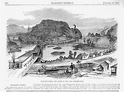 Harper's Ferry on the Potomac River, scene of the late Insurrection by John Brown Pre Civil War Virginia.  John Brown's Invasion of the South tried to spark a slave rebellion by seizing the Federal arsenal at Harper's Ferry, Virginia (present day West Virginia, ) just before the start of the Civil War. Harper's Weekly November 12, 1859 Illustrations by Porte Crayon (David Hunter Strother)