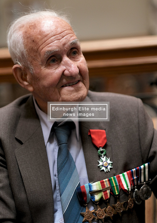 D-Day 75th anniversary, Edinburgh, Friday 6th June 2019<br /> <br /> A service to commemorate the 75th anniversary of the D-Day<br /> landings was organised by Armed Forces charity Legion<br /> Scotland and The French Consulate General.<br /> <br /> It was attended by 15 D-Day veterans, 4 of whom received the Knight of the Légion d'Honneur Cross, serving personnel, various dignitaries and Graeme Dey, the Scottish Government's Minister for Parliamentary Business and<br /> Veterans.<br /> <br /> Pictured:  David Livingston (97, Royal Navy) received the medal<br /> <br /> Alex Todd | Edinburgh Elite media
