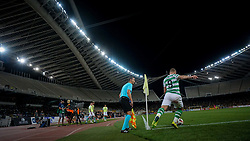 August 14, 2018 - Athens, Greece - Griffiths Leigh of Celtic makes a corner  during  the UEFA Champions League 3rd Qualifying round second  leg match AEK FC  vs Celtic FC at the Olympic Stadium of Athens , on 14 August 2018. (Credit Image: © Giannis Alexopoulos/NurPhoto via ZUMA Press)