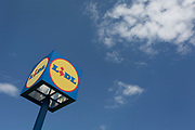 A Lidl logo on the outskirts of a rural Slovenian town, on 18th June 2018, in Bled, Slovenia.