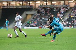 Tottenham's Kenneth McEvoy tries a shot during the pre-season friendly game between MK Dons and Tottenham XI.  Photo mandatory by-line: Nigel Pitts-Drake/JMP  - Tel: Mobile:07966 386802 31/07/2013 - MK Dons v  Tottenham XI  - SPORT - FOOTBALL - pre-season - Milton Keynes - Stadium MK