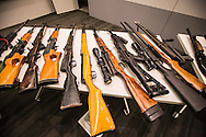 A total of 746 weapons was turned in by the public on Saturday at the Los Angeles mayor's 10th gun buyback program. 374 handguns, 143 shotguns, 29 assault rifles, and 200 rifles were turned in the public for gift cards from a supermarket chain.<br /> A total of 14,442 guns was urned in during all 10 city buyback events.