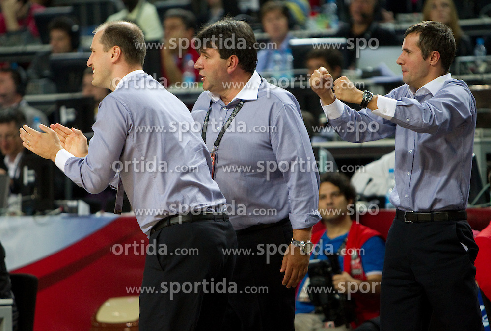 Bojan Lazic, Head coach of Slovenia Memi Becirovic and Miro Alilovic  during  the eight-final basketball match between National teams of Slovenia and Australia at 2010 FIBA World Championships on September 5, 2010 at the Sinan Erdem Dome in Istanbul, Turkey. (Photo By Vid Ponikvar / Sportida.com)