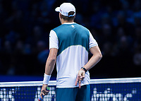 Tennis - 2017 Nitto ATP Finals at The O2 - Day Two<br /> <br /> Mens Doubles: Group Woodbridge/Woodforde: Jamie Murray (Great Britain) & Bruno Soares (Brazil) Vs Bob Bryan (United States) & Mike Bryan (United States)<br /> <br /> Bob Bryan (United States) signals intructions for his brother to serve at the O2 Arena<br /> <br /> COLORSPORT/DANIEL BEARHAM