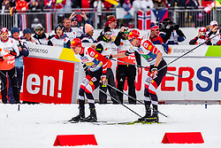 02.03.2019, Seefeld, AUT, FIS Weltmeisterschaften Ski Nordisch, Seefeld 2019, Nordische Kombination, Langlauf, Team Bewerb 4x5 km, im Bild Franz-Josef Rehrl (AUT), Mario Seidl (AUT) // Franz-Josef Rehrl of Austria Mario Seidl of Austria during the Cross Country Team competition 4x5 km of Nordic Combined for the FIS Nordic Ski World Championships 2019. Seefeld, Austria on 2019/03/02. EXPA Pictures © 2019, PhotoCredit: EXPA/ Stefanie Oberhauser