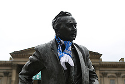 May 30, 2017 - Huddersfield, West Yorkshire, UK - Huddersfield, UK. The statue of Harold Wilson in St Georges Square is adorned with Huddersfield Town scarf. Huddersfield Town will celebrate with an open top bus this evening after successfully gaining promotion to the Premier League for the first time yesterday. Underdogs Huddersfield beat Reading on penalties at Wembley yesterday to take their place in the Premier League ending a 45 year absence from the top flight of English football. (Credit Image: © Ian Hinchliffe/London News Pictures via ZUMA Wire)