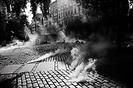 Germany, Hamburg:German riot police disperse activists using  tear gas during a demonstration against the G20 summit in Hamburg, Germany, 7 July 2017. Heavy and violent mass demonstrations took place in several flash points throughout the city as German riot police confronted Anti capitalist and radical left wing groups protesting against the G20 summit in Hamburg, Germany, from 6 to 9 July 2017.