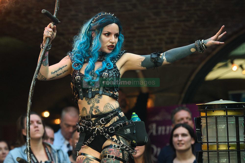 Pyrex perform on stage at the London Tattoo Convention, held at Tobacco Dock in east London. Picture date: Friday September 22nd, 2017. Photo credit should read: Matt Crossick/ EMPICS Entertainment.