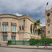 West Wing and Clock Tower of the Parliament Buildings in Bridgetown, Barbados