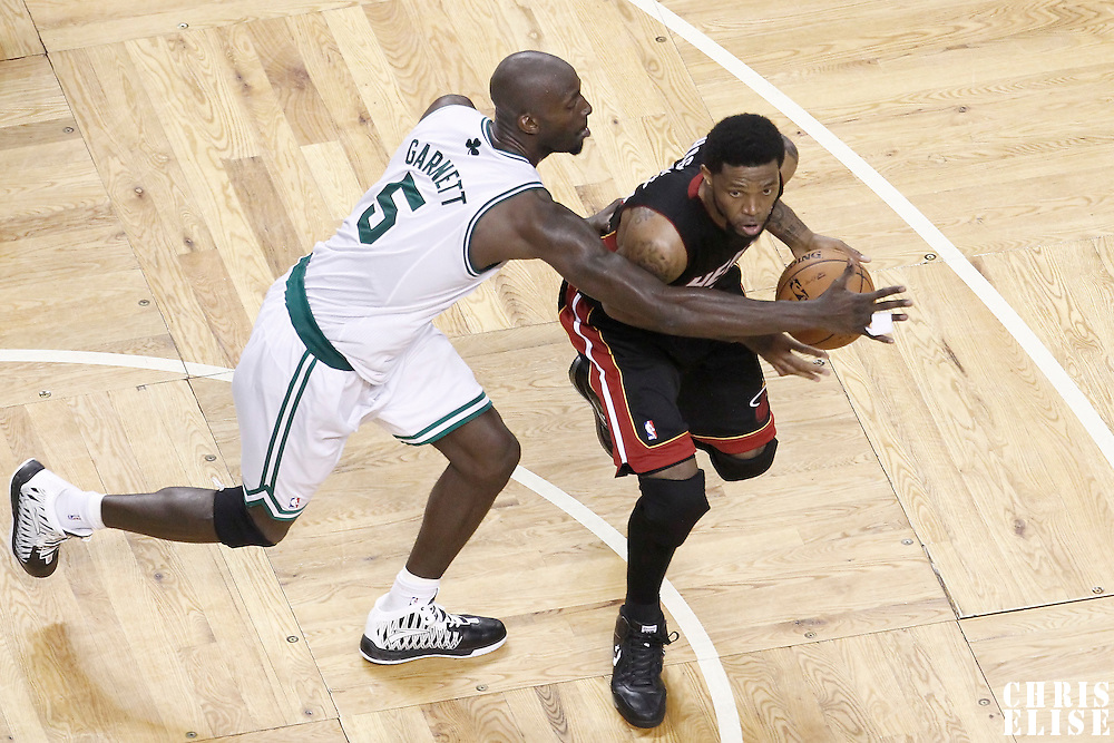 03 June 2012: Boston Celtics power forward Kevin Garnett (5) defends on Miami Heat power forward Udonis Haslem (40) during the second half of Game 4 of the Eastern Conference Finals playoff series, Heat at Celtics, at the TD Banknorth Garden, Boston, Massachusetts, USA.