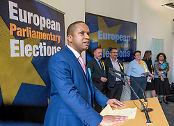 Pictured: New Brexit Party MEP Louis Stedman-Bryce speaks after the declaration with the other five new MEP's in the background.<br /> <br /> Scotland's results in the European elections were announced at the City Chambers in Edinburgh.<br /> <br /> © Dave Johnston / EEm