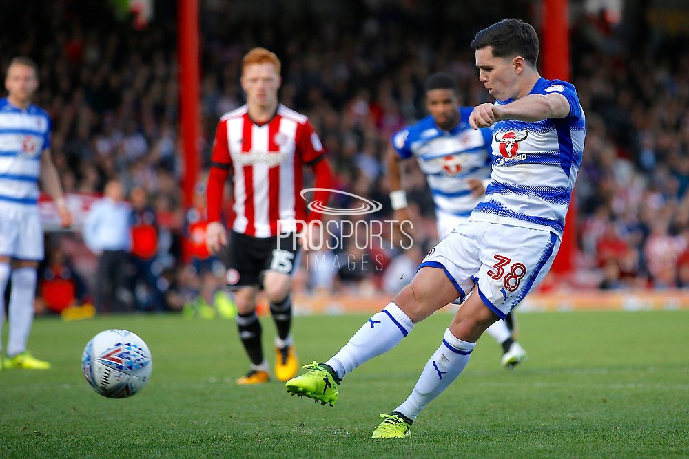 Reading Midfielder Liam Kelly (38) takes a penalty and scores (score 1-1) during the EFL Sky Bet Championship match between Brentford and Reading at Griffin Park, London, England on 16 September 2017. Photo by Andy Walter.