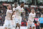 GOAL - Manchester United Forward Marcus Rashford celebrates with Manchester United Defender Luke Shaw and Manchester United Midfielder Paul Pogba during the Premier League match between Bournemouth and Manchester United at the Vitality Stadium, Bournemouth, England on 3 November 2018.