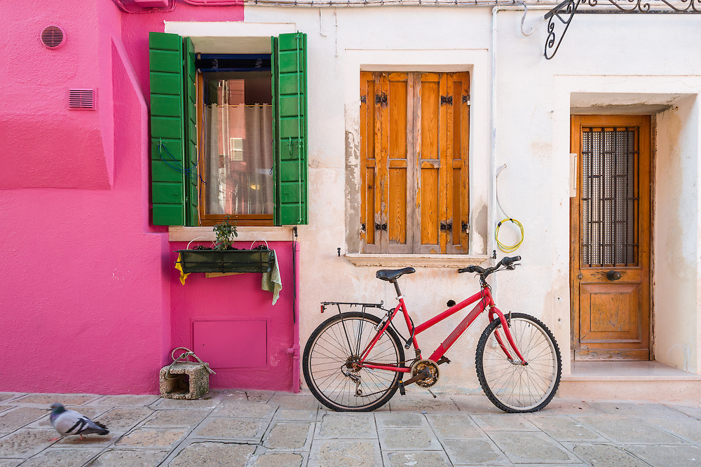 traditional houses in burano are painted in bright colours