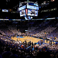 Jun 14, 2012; Oklahoma City, OK, USA; A general view during the fourth quarter of game two in the 2012 NBA Finals between the Oklahoma City Thunder and the Miami Heat at Chesapeake Energy Arena. Mandatory Credit: Derick E. Hingle-US PRESSWIRE