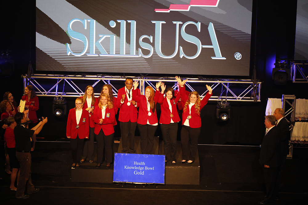 The 2017 SkillsUSA National Leadership and Skills Conference Competition Medalists were announced Friday, June 23, 2017 at Freedom Hall in Louisville. <br /> <br /> Health Knowledge Bowl<br /> <br /> 	Team J (consisting of Alaina Gosche, Madison Jones, Jessica Holman, Alexis Herr)<br />   High School	 Vanguard-Sentinel CTC-Sentinel Campus<br />   Gold	 Tiffin, OH<br /> Health Knowledge Bowl	Team G (consisting of Julia Garaffa, Matthew Natividad, Parth Patel, Palak Shah)<br />   High School	 Somerset County Academy of Medical Sciences<br />   Silver	 Bridgewater, NJ<br /> Health Knowledge Bowl	Team D (consisting of Macy Williams, Samantha Baker, Ashley Phipps, Andrea Blochberger)<br />   High School	 Eldon Career Center<br />   Bronze	 Eldon, MO<br /> Health Knowledge Bowl	Team B (consisting of Megan Keene, Alexandra Stephens, Bryant Phelps, Taylor Haynes)<br />   College	 Central Georgia Technical College<br />   Gold	 Macon, GA<br /> Health Knowledge Bowl	Team D (consisting of Bryana Pyle, Rachel Miller, Sarah Duggan, Wesley Stiles)<br />   College	 Tennessee College of Applied Tech-Murfreesboro<br />   Silver	 Murfreesboro, TN<br /> Health Knowledge Bowl	Team F (consisting of Sarah Shepherd, Ashley Hobson, Sarah Brown, Hannah Johnson)<br />   College	 Wilkes Community College<br />   Bronze	 Wilkesboro, NC