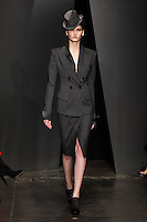 Katlin Aas walks down runway for F2012 Donna Karan's collection in Mercedes Benz fashion week in New York on Feb 12, 2012 NYC