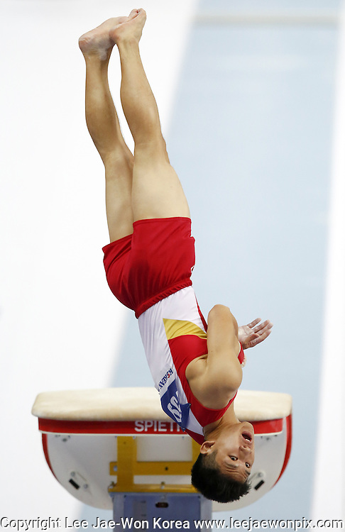 Singapore's Tay Wei An Terry in action at Vault during men's Individual Qualification and Team Final Subdivision 3 Gymnastics Artistic match at the Incheon Asian Games in Incheon, west of Seoul September 20, 2014. Photo by Lee Jae-Won (SOUTH KOREA) www.leejaewonpix.com/