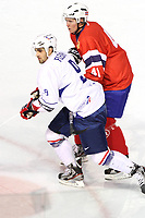 ICE HOCKEY - FRIENDLY GAME - FRANCE V NORWAY - LYON (FRA) - 11/11/2011 - PHOTO : EDDY LEMAISTRE / DPPI -  DAMIEN FLEURY  (FRA) AND DENNIS SVEUM  (NOR)
