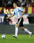 Argentina's Martin Demichelis  in action during the international friendly match between Spain and Argentina in Madrid, Spain on November 14 2009.