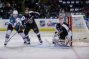 KELOWNA, CANADA - MARCH 10:  Reid Gardiner #23 of the Kelowna Rockets , David Tendeck #30 of the Vancouver Giants at the Kelowna Rockets game on March 10, 2017 at Prospera Place in Kelowna, British Columbia, Canada.  (Photo By Cindy Rogers/Nyasa Photography,  *** Local Caption ***