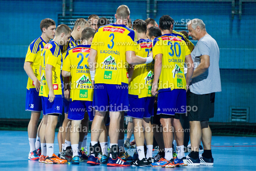 Players of RK Celje Pivovarna Lasko during handball match between RK Celje Pivovarna Lasko vs RK Gorenje Velenje of Super Cup 2015, on August 29, 2015 in SRC Marina, Portoroz / Portorose, Slovenia. Photo by Urban Urbanc / Sportida