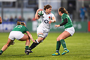 England captain Sarah Hunter avoids a tackle in the first half uring the Women's 6 Nations match between Ireland Women and England Women at Energia Park, Dublin, Ireland on 1 February 2019.