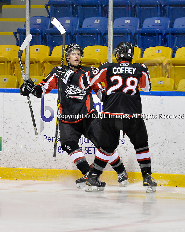 WHITBY, ON - Feb 1, 2015 : Ontario Junior Hockey League game action between Pickering and Whitby. Aidan Parker #11 of the Pickering Panthers celebrates the goal with teammate Blake Coffey #28 during the second period.<br /> (Photo by Shawn Muir / OJHL Images)