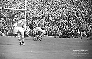 GAA All Ireland Senior Football Final Kerry v. Down 22nd September 1968 Croke Park.<br /> <br /> Kerry foward in possession near Down goalmouth  kicks ball over his head for a point.  *** Local Caption *** It is important to note that under the COPYRIGHT AND RELATED RIGHTS ACT 2000 the copyright of these photographs are the property of the photographer and they cannot be copied, scanned, reproduced or electronically stored in any form whatsoever without the written permission of the photographer
