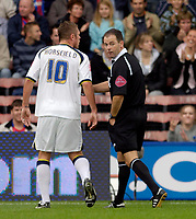 Photo: Daniel Hambury.<br />Crystal Palace v Leeds United. Coca Cola Championship. 13/08/2006.<br />Leeds' Geoff Horsefield is sent off by Rob Styles.