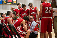 Laconia Head Coach Stephen McDonough during the first half of play with Belmont Tuesday evening.  (Karen Bobotas/for the Laconia Daily Sun)