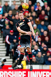 Phil Jones of Manchester United in action - Mandatory byline: Rogan Thomson/JMP - 26/12/2015 - FOOTBALL - Britannia Stadium - Stoke, England - Stoke City v Manchester United - Barclays Premier League - Boxing Day Fixture.
