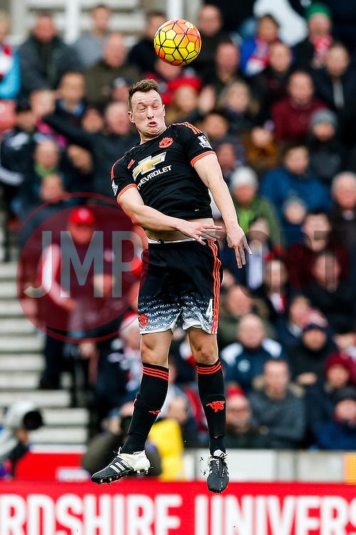 Phil Jones of Manchester United in action - Mandatory byline: Rogan Thomson/JMP - 26/12/2015 - FOOTBALL - Britannia Stadium - Stoke, England - Stoke City v Manchester United - Barclays Premier League - Boxing Day Fixture.
