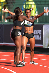 Olympic Trials Eugene 2012: women's 100 meter hurdles, Harper and Wells embrace after making Olympic team